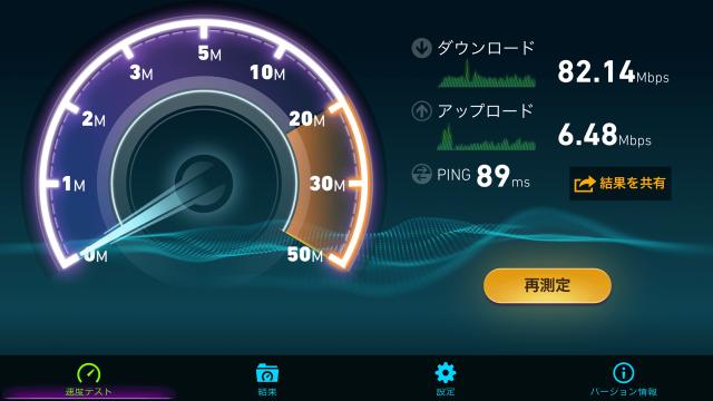 WX03 スピードテスト結果