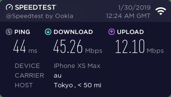 HOME 01 スピードテスト結果