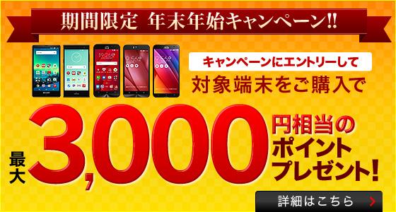 楽天モバイル 最大3000ポイントプレゼント キャンペーン